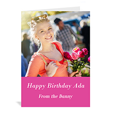 Hot Pink Photo Birthday Cards, 5x7 Portrait Folded Simple