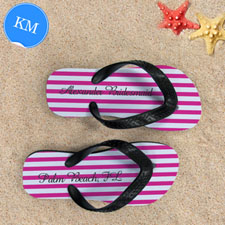 Design My Own Personalized Girly Pink White Stripes ,Kids' Medium Flip Flops