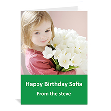 Classic Green Photo Birthday Cards, 5x7 Portrait Folded Simple