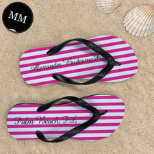 Design My Own Personalized Girly Pink White Stripes ,Men's Medium Flip Flop Sandals