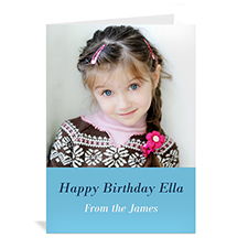 Baby Blue Photo Birthday Cards, 5x7 Portrait Folded Simple