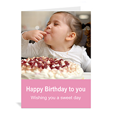 Baby Pink Photo Birthday Cards, 5x7 Portrait Folded Simple