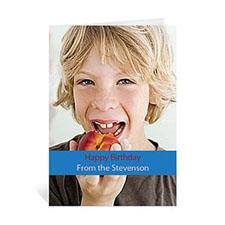 Classic Blue Photo Birthday Cards, 5x7 Portrait Folded Causal