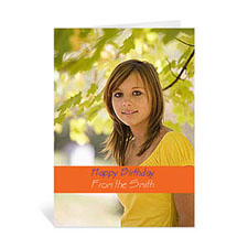 Classic Orange Photo Birthday Cards, 5x7 Portrait Folded Causal