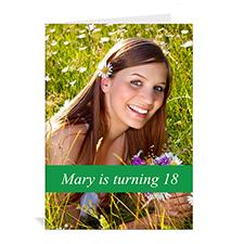 Classic Green Photo Birthday Cards, 5x7 Portrait Folded Causal