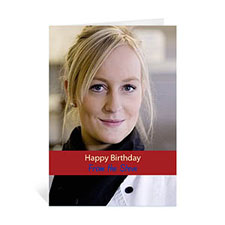 Classic Red Photo Birthday Cards, 5x7 Portrait Folded Causal