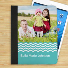 Aqua Chevron Personalized Photo