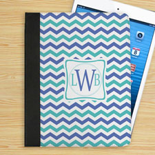 Blue and Aqua Chevron Personalized Initial