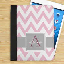Grey and Pink Chevron Personalized Monogram