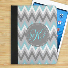 Aqua White Grey Zigzag Chevron Custom Monogram