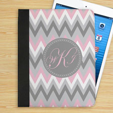 Pink White Grey Zigzag Chevron Custom Monogram