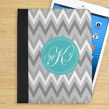 White Grey Zigzag Chevron Custom Monogram