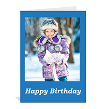 Classic Blue Photo Birthday Cards, 5x7 Portrait Folded