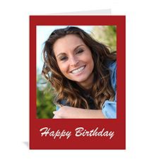 Classic Red Photo Birthday Cards, 5x7 Portrait Folded