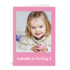 Baby Pink Photo Birthday Cards, 5x7 Portrait Folded