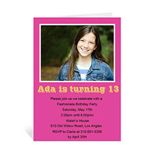 Hot Pink Photo Birthday Cards, 5x7 Portrait Folded