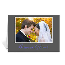Classic Grey Photo Wedding Cards, 5x7 Folded