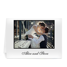 Classic White Wedding Photo Cards, 5x7 Folded
