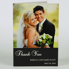 Classic Black Wedding Photo Cards, 5x7 Portrait Folded Simple