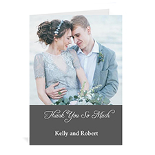 Classic Grey Wedding Photo Cards, 5x7 Portrait Folded Simple