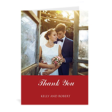 Classic Red Wedding Photo Cards, 5x7 Portrait Folded Simple