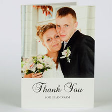 Classic White Wedding Photo Cards, 5x7 Portrait Folded Simple