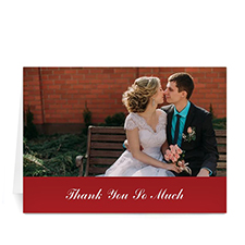 Classic Red Wedding Photo Cards, 5x7 Folded Simple