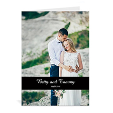 Classic Black Wedding Photo Cards, 5x7 Portrait Folded Causal