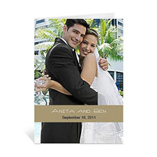 Timeless Gold Wedding Photo Cards, 5x7 Portrait Folded Causal