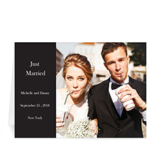 Classic Black Wedding Photo Cards, 5x7 Folded Modern