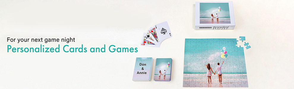 Personalized playing cards, game cards and jigsaw puzzles