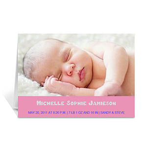 Baby Pink Photo Cards, 5x7 Portrait Folded Simple