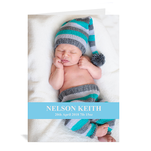 Baby Blue Photo Cards, 5x7 Portrait Folded Causal