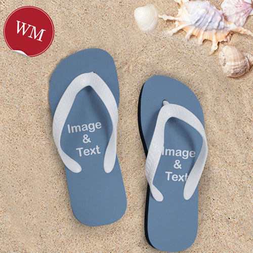 Make My Own Two Images Women Medium Color White Flip Flop Sandals