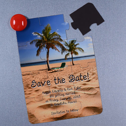 Personalized Save the Date Magnetic Puzzle Card