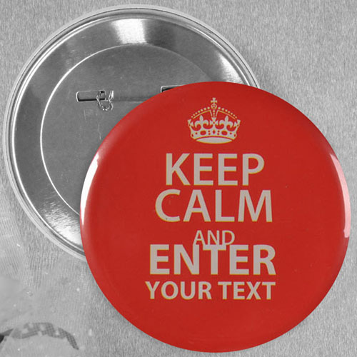 Round Red Keep Calm Personalized Text