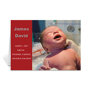 Classic Red Photo Birth Announcements Cards, 5x7 Folded Modern