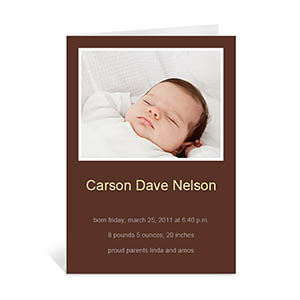 Chocolate Brown Baby Photo Greeting Cards, 5x7 Portrait Folded