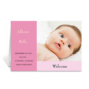 Baby Pink Baby Shower Photo Cards, 5x7 Folded Modern
