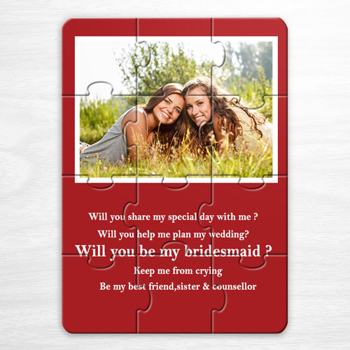 Wedding Photo Puzzle Invitation, 5x7 Red