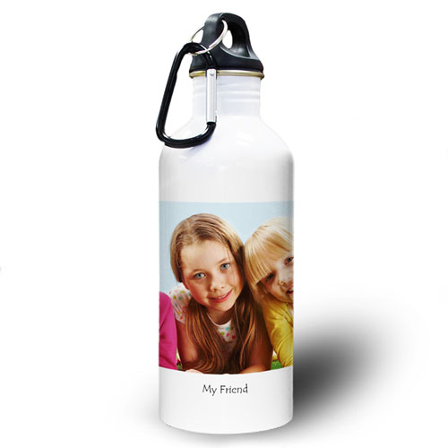 Personalized Photo Photo White Textbox Water Bottle