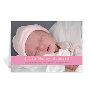 Baby Pink Photo Baby Cards, 5x7 Folded Causal