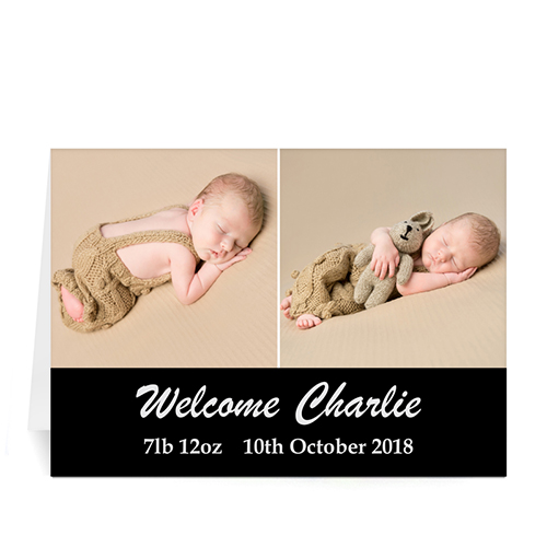 Two Collage Baby Photo Cards, 5x7 Simple Black