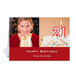 Two Collage Birthday Photo Cards, 5x7 Simple Red