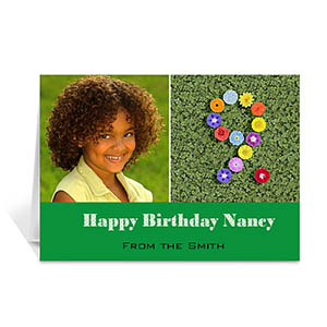 Two Collage Birthday Photo Cards, 5x7 Simple Green