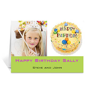 Two Collage Birthday Photo Cards, 5x7 Simple Lime