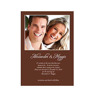 Chocolate Wedding Announcement, 5x7 Stationery Card
