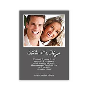 Grey Wedding Announcement, 5x7 Stationery Card