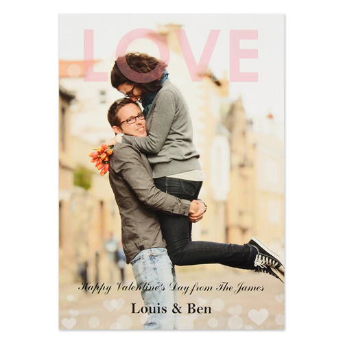 Days Of Love Personalized Photo Valentine Card, 5X7 Flat