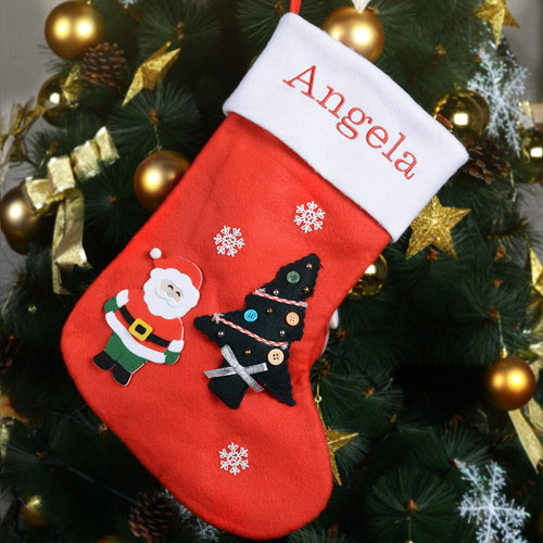 Embroidered Name Tree, Santa, Snow Stocking